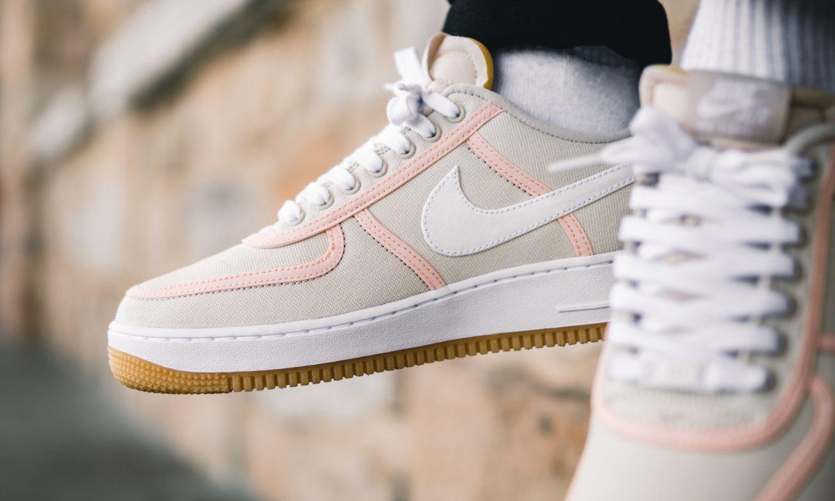 Nike Air Force 1 PRM Light Cream Canvas on feet | Dead Stock
