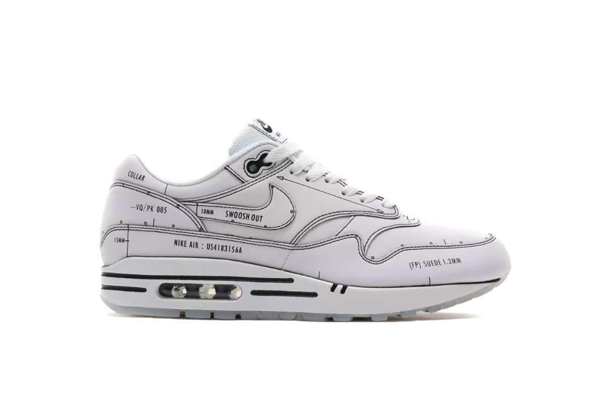 énorme réduction 378f3 512e7 Nike Air Max 1 Sketch White