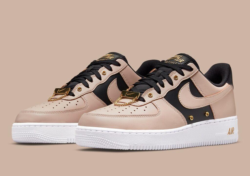 Air Force 1 Tan Black Gold Shoelery