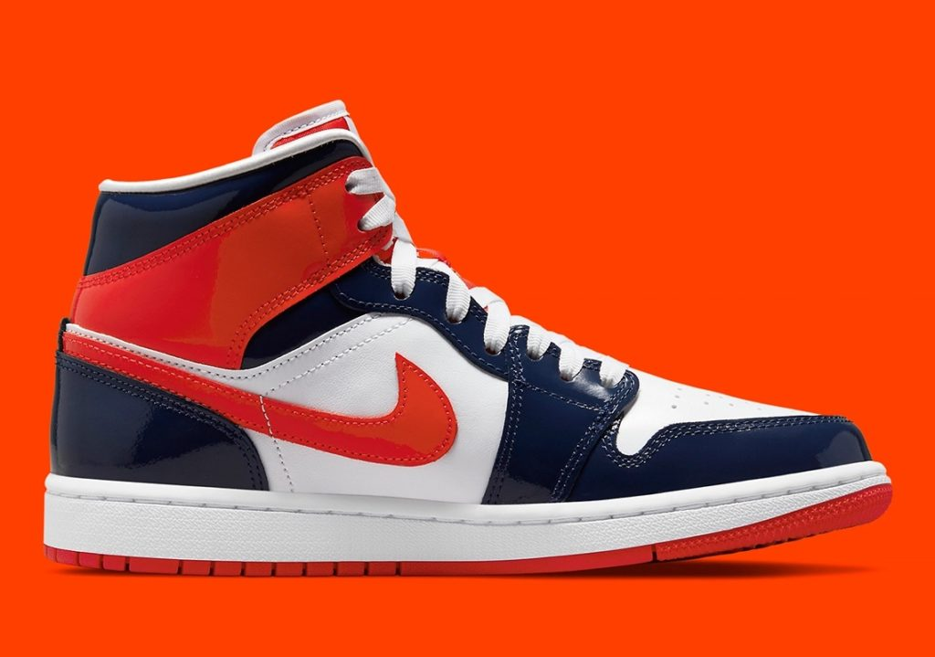 Nike Air Jordan 1 Mid Patent Navy Orange DJ5984-400