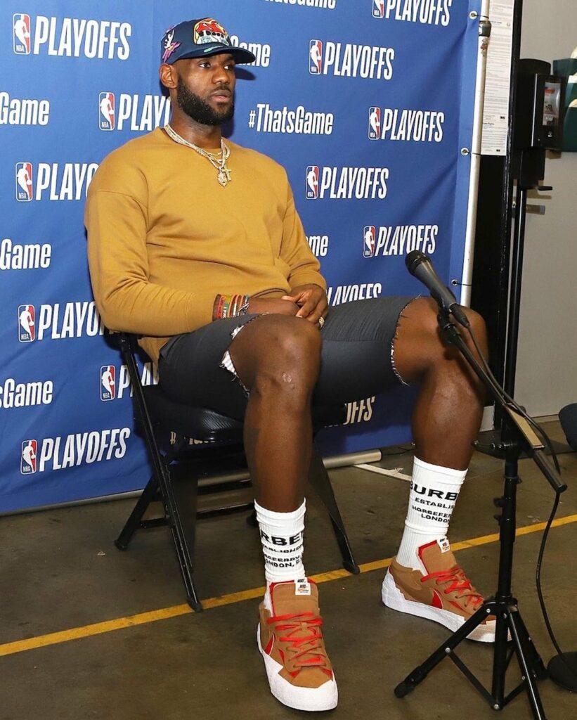 LeBron James in Sacai x Nike Blazer Low British Tan