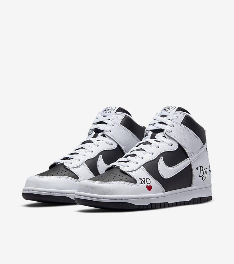 Supreme x Nike SB Dunk High By Any Means White Black